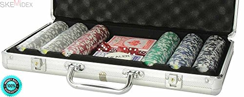 SKEMiDEX--- 300 Clay Poker Chip Set Aluminum Case Professional Texas Hold'em Cards Dice NEW The chips are good for casinos or home play. To keep all of your poker chips and accessories together. by SKEMiDEX