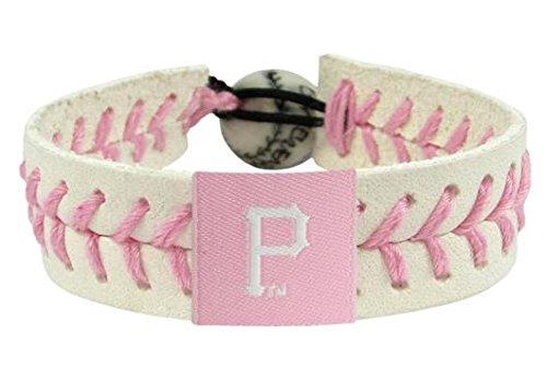 (GameWear Pittsburgh Pirates MLB Baseball Leather Pink Bracelet)