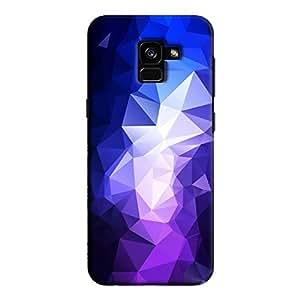 Cover It Up - Dark Purple Pixel Blue Triangles Samsung Galaxy A5 2018 Hard Case