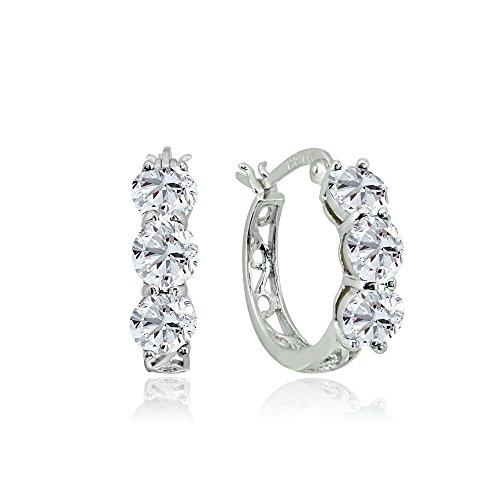 Sterling Silver Cubic Zirconia Round Filigree Three Stone Hoop Earrings