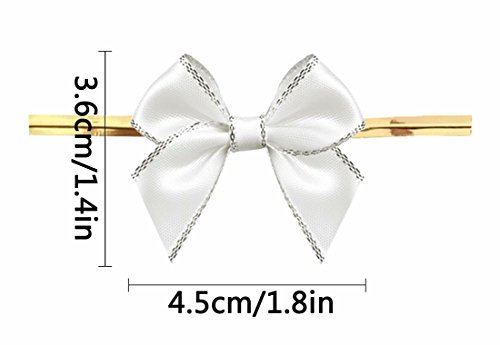 White Gift Bows,Twist Tie Bows for Bakery Candy Lollipop Cello Bag (50 Pack) by Aulens