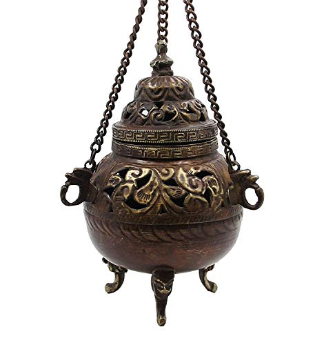 DharmaObjects Tibetan Traditional Hanging Incense Burner Copper 5