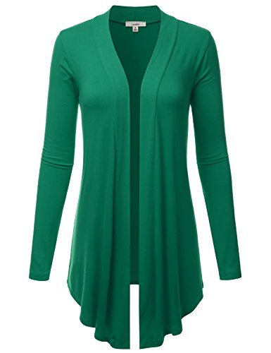 LALABEE Women's Draped Open-Front Long Sleeve Light Weight Cardigan-KellyGreen-S