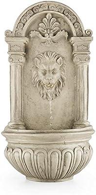 Blumfeldt Löwenstein - Fuente de Pared, Fuente de jardín Ornamental, Decorativa, Panel Solar y Batería Recargable: 2000 mAh, Diseño Antiguo, Sensor de luz, Gris: Amazon.es: Jardín