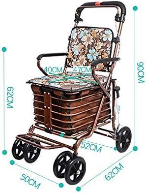 PNYGJZXQ Andador con Asiento con Ruedas, carritos de Compra: Carro de Compras de Cuatro Ruedas for Ancianos, Andador con Asientos con Ruedas, Carrito con Ruedas Plegables (Color : Bronze)