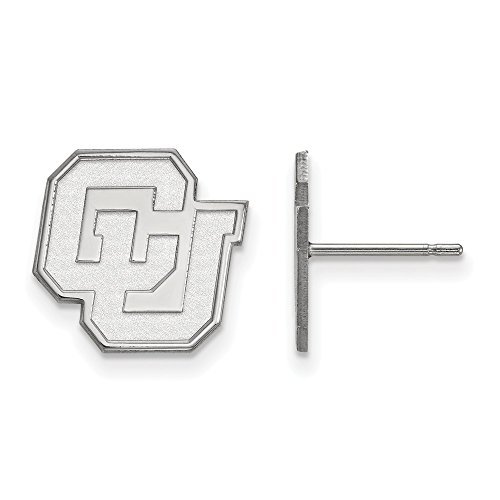 10k White Gold LogoArt Official Licensed Collegiate University of Colorado (UC) Small Post Earrings by LogoArt