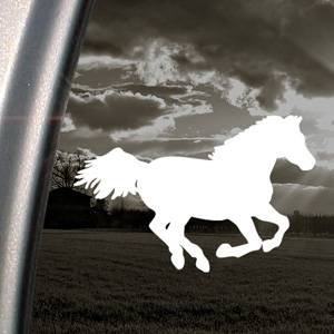 Decals Running Horse - Western RUNNING HORSE White Sticker Decal Bumper Laptop Car White Sticker Decal (0113)