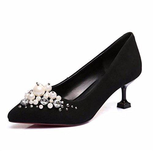 Damenschuhe Original Wildleder Kätzchen Ferse Perlen Perle Pumps Kleid  Party Größe 35 bis 41 Black