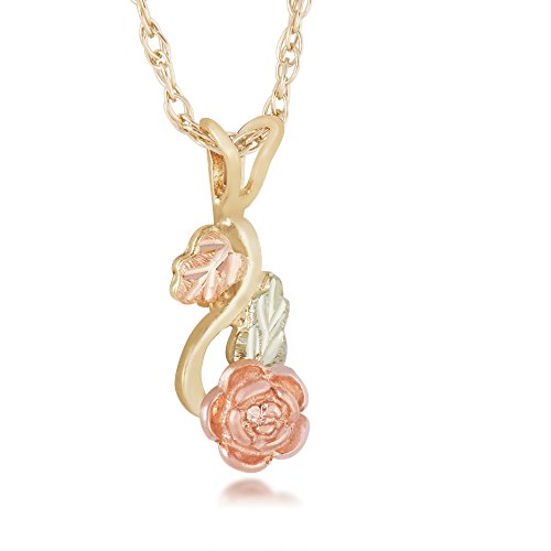 Landstroms 10K Black Hills Gold Rose Pendant with 12K Leaves