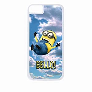 minion falling - bello - Hard White Plastic Snap - On Case-Apple Iphone 4 - 4s - Great Quality!