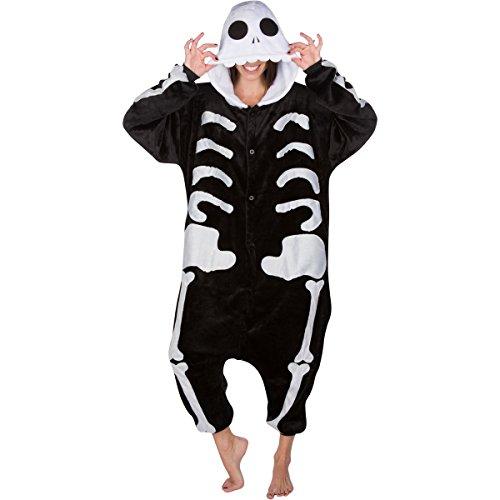 Adult Onesies Kigurumi Cosplay Costume: Skeleton Onesie Furries Pajamas with Hood for Men & Women (Skeleton Costume Adults)