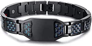 Blue carbon steel bracelet to get rid of negative charges with magnet stone and germanium for unisex
