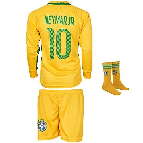 Wholesale Brazil Neymar #10 Kids Long Sleeve Jersey Set With Socks || Season 2017 2018 || Home Edition hot sale