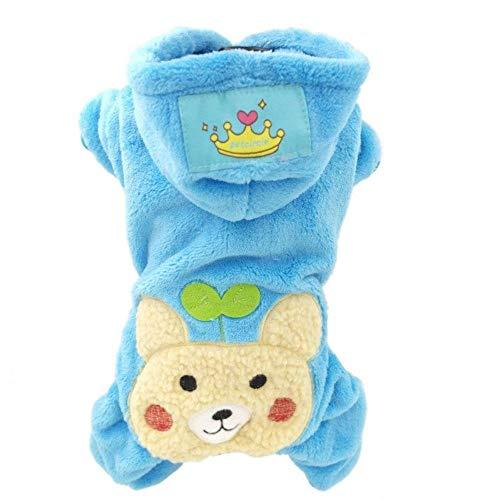 BiBaBoMax Soft Fleece Dog Cat Jumpsuit Halloween Coat Costumes Pet Overalls Puppy Cat Clothes for Small Cat Dog Pet (Blue Bear,Xs Chest36cm -