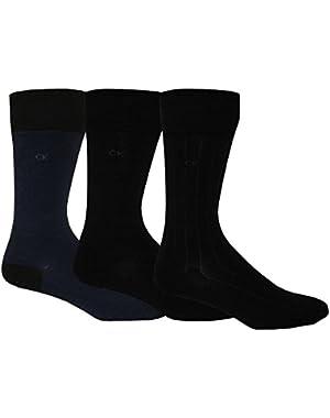 Calvin Klein 3-Pack Birdseye/Solid/Ribbed Men's Socks, Navy