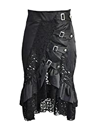 BSLINGERIE Womens Gothic Punk Ankle-length Skirt Steampunk Outfit