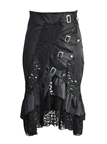 Steampunk Outfits Female (Bslingerie Womens Gothic Punk Ankle-length Skirt Steampunk Outfit (S, Black))