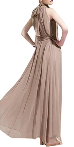 Party Womens Dress with Long Ruched Maxi Khaki Solid Sleeveless Evening Dress Domple Belt gqw4d4Y