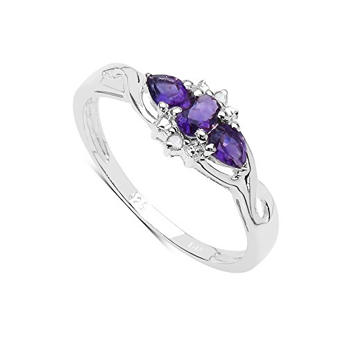 The Amethyst Collection: Ladies Sterling Silver Amethyst & Diamond Ring...