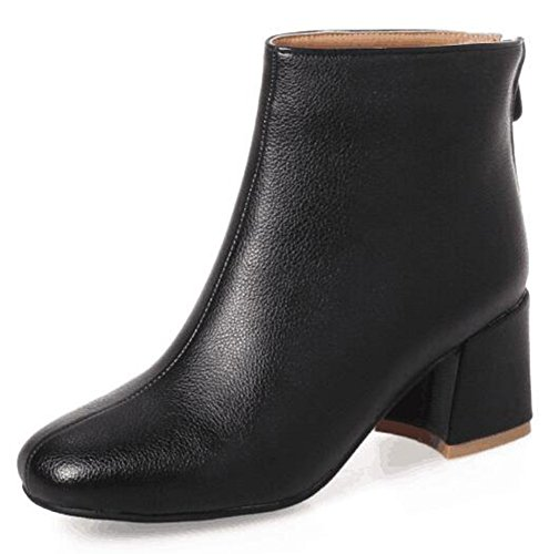 Black Ankle Square Toe Zipper Block Women's Back Medium Heel Boots Fashion Aisun qPpzZp