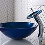Kraus C-GV-204-12mm-10CH Irruption Blue Glass Vessel Sink and Waterfall Faucet Chrome