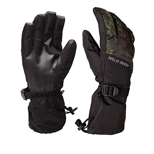 Men Ski Gloves,Wsobue Winter Warm 3M Thinsulate Snowboard Snowmobile Cold Weather Gloves (Camouflage- L)