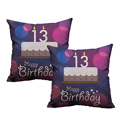 RuppertTextile Customized Pillowcase 13th Birthday Hand Drawn Style Party Cake with Number Candles on Abstract Backdrop Machine Washable W14 xL14 2 pcs