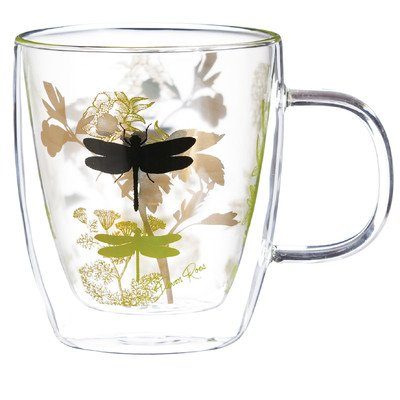 Cypress Home Garden Botanical Glass Coffee Cup, 12 ounces