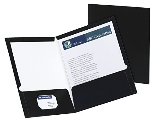 Oxford Laminated Twin-Pocket Folders, Letter Size, Black, Holds 100 Sheets, Box of 25 (51706EE)