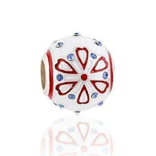 (Red & White Enamel Sterling Silver Heart Charm Bead S925 w/blue Swarovski crystals, Red Hearts Blue Crystals Sterling Silver Charm Bead pendant necklace, Folk Art Inspired charm fits Pandora)