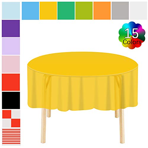 Disposable Table Covers 6 Pack Premium Plastic Round Tablecloth 83 in. x 83 in. for Indoor or Outdoor Parties Birthdays Weddings Christmas Yellow (Birthday Party Tablecloth Round)