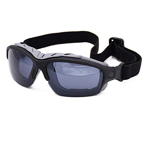 Viriber Ski Goggles, Motorcycle Goggles Dust-Proof Protective Combat Goggles Military Sunglasses Outdoor Tactical Goggles to Prevent Particulates (Black Gray)