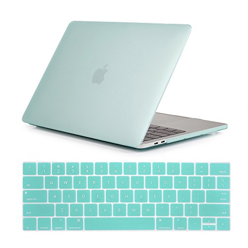 Se7enline 2016/2017/2018 Macbook Pro Case 2 in 1 Bundle Soft-Touch Plastic Hard Cover for Macbook Pro 13 inch with/without Touch Bar Touch ID Model A1706/A1708/A1989 with Keyboard Cover, Aqua Green (Pastel 1 Soft)