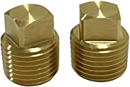 """C CLINK 1/2"""" NPT solid brass Drain Plugs commonly used in boat hulls. 2 Pack Solid Brass Boat Hull Spare"""