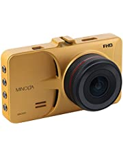 "Minolta MNCD53-GD Full HD 1080p Wide Angle Car Dashboard Camera with G-Sensor, WDR, Loop Recording & 3"" LCD, Gold"