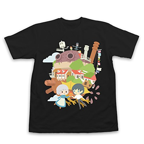 Howl's Moving Castle T-Shirt Howls Moving Castle, Howls Moving Castle Shirt, Howls Moving Castle Gift, Studio Ghibli (Small, Black)