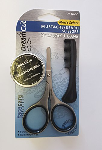 Professional Stainless Steel Sharp Beard & Mustache Scissors W/Comb & Mustache Wax | Facial Hair Trimming for Men with Comfort Grip | Trimming Grooming Cutting Mustache, Beards, Eyebrows by DreamCut