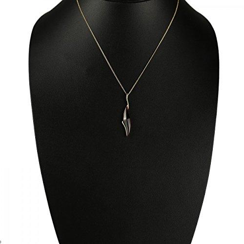 Enzo - Collier Femme - Pendentif Or Jaune 585/1000 (14 Cts) 3.2 Gr Ambre véritable - Chaîne 47 cm N531 - Bordeaux