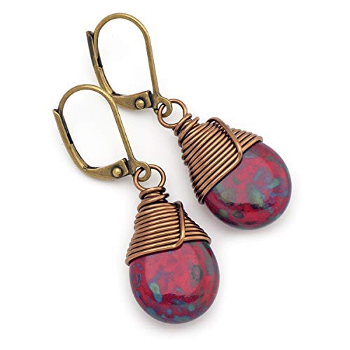 (Dark red opaque Czech glass wire-wrapped drop bronze lever-back earrings)
