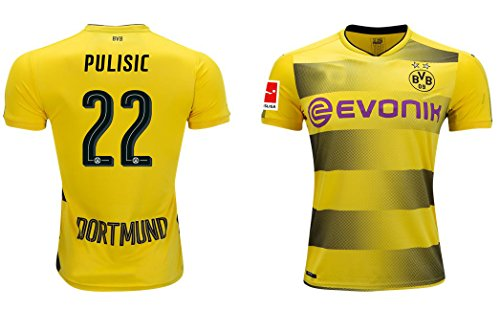 New Season 17-18 Dortmund 22 Pulisic Home Authentic Soccer Jerseys Size XL