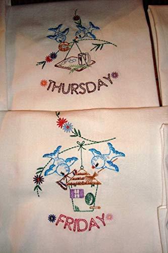 Days of the Week flour sack dish towels, tea towels, bluebirds