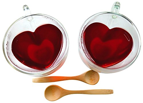 Heart Shaped Tea Cups Insulated Clear Glass Tea Cup 2-Pack 8.5 Ounces with 2 Bamboo Teaspoons by Princeton (Fancy Double Heart)