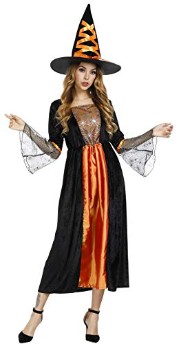 Women's Witch Costume Long Sorceress Classic Dress Halloween Party Cosplay Costumes with Witch Hat XL ()