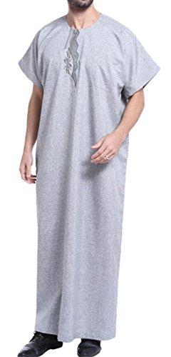 YYear Men Embroidery Short Sleeve Arabic Arabian Islamic Muslim Dress Gray 2XL