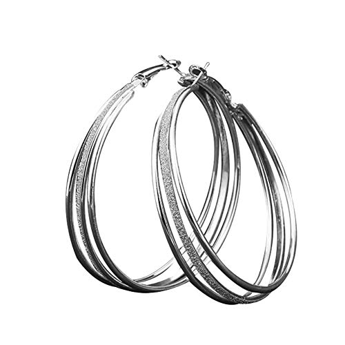 Lastnight Leverback Big Circle Round Alloy Hoop Earrings for Night Club Evening Party Women Jewelry 1#