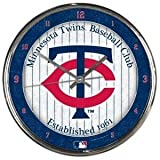 Minnesota Twins Round Chrome Wall Clock - Licensed MLB Baseball Merchandise