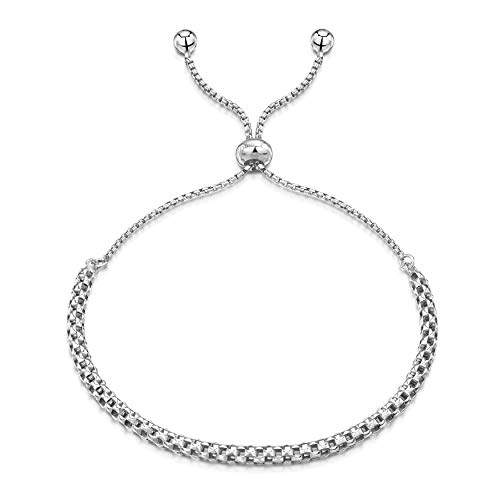 - Amberta 925 Sterling Silver - Rhodium Plated - 1.2 mm Round Box Chain Bracelet with Mesh - Adjustable up to 9