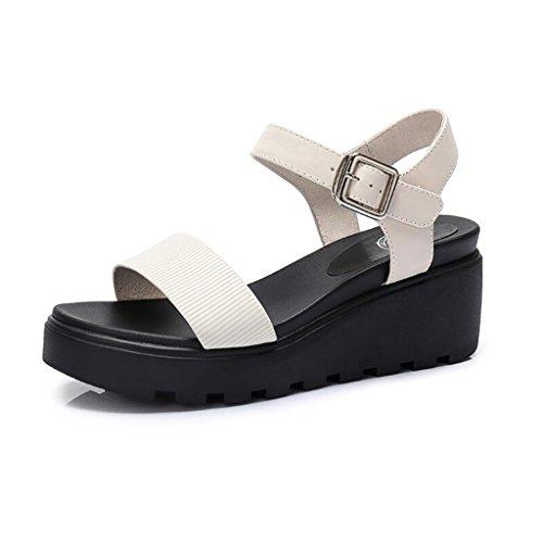 Plate Pente Taille Forme avec Sandales Chaussures Couleur Plate Chaussures Casual Summer des Blanc 35 Imperméable Forme Jingsen Blanc Sandales Simple Ft7Oq