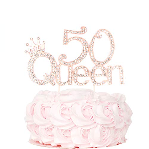 50 Queen 50 Birthday Cake Topper | 50th Party Decoration Ideas | Premium Sparkly Crystal Diamond Gems | Quality Metal Alloy |50 Perfect Keepsake(50 Rose Gold)]()