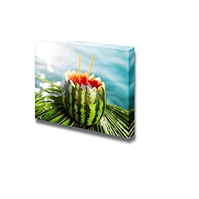 Canvas Prints Wall Art - Cocktail in Watermelon by The Sea | Modern Wall Decor/Home Decoration Stretched Gallery Canvas Wrap Giclee Print & Ready to Hang - 24
